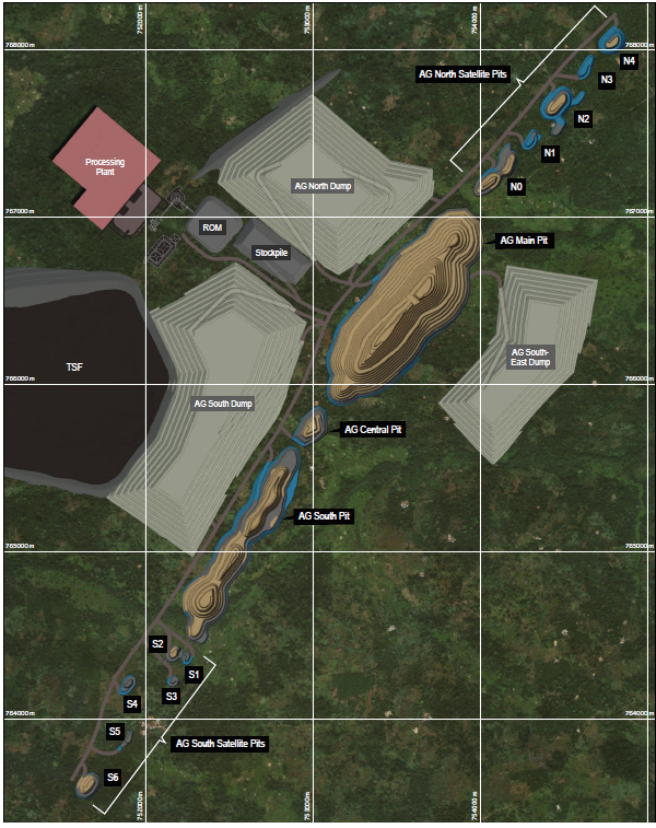 Layout of Abujar Gold Project in Cote d'Ivoire